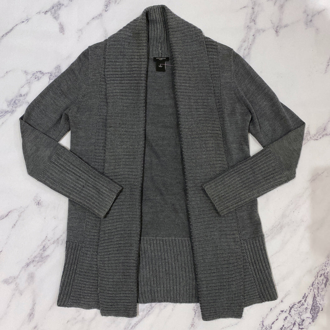 Ann Taylor gray open cardigan - My Girlfriend's Wardrobe York Pa