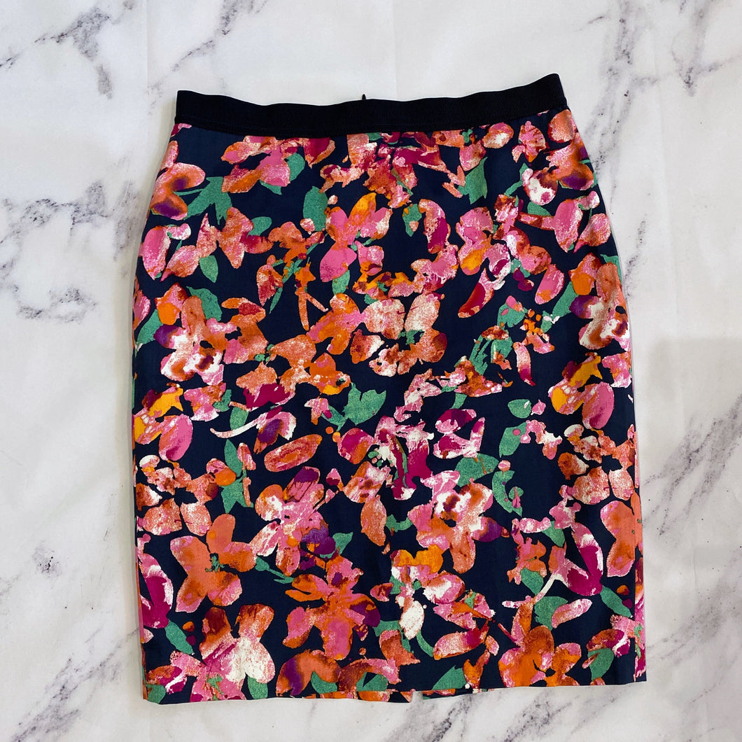 Ann Taylor navy and pink floral pencil skirt - My Girlfriend's Wardrobe York Pa