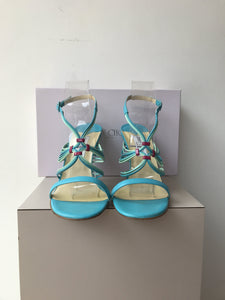 Jimmy Choo aqua leather heels size 39.5 - My Girlfriend's Wardrobe York Pa