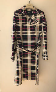 Burberry navy and pink plaid trench - My Girlfriend's Wardrobe York Pa