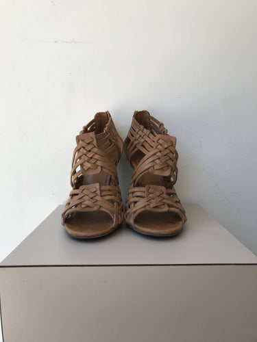 Tory Burch brown leather woven wedges size 6.5