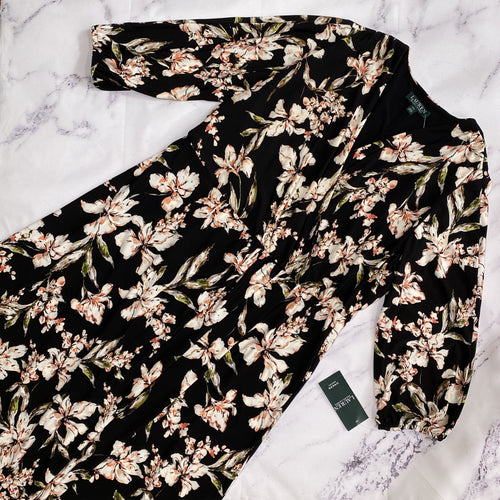 Lauren Ralph Lauren black floral dress size 14W NWT - My Girlfriend's Wardrobe LLC
