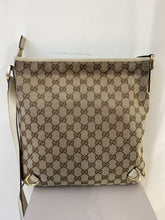 Gucci white and tan cloth and leather crossbody