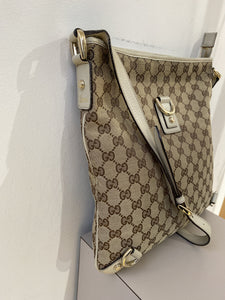Gucci white and tan cloth and leather crossbody - My Girlfriend's Wardrobe York Pa