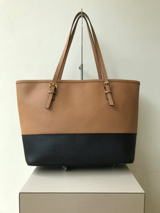 Michael Kors tan and black leather jet set tote - My Girlfriend's Wardrobe