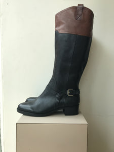 Franco Sarto brown black leather boots size 9 - My Girlfriend's Wardrobe