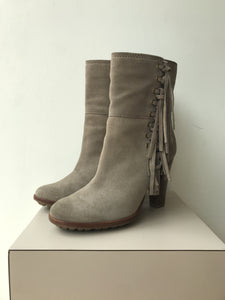Coach taupe fringe suede heeled boots size 6.5 - My Girlfriend's Wardrobe