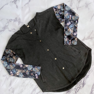 Mystree gray and floral cardigan - My Girlfriend's Wardrobe York Pa