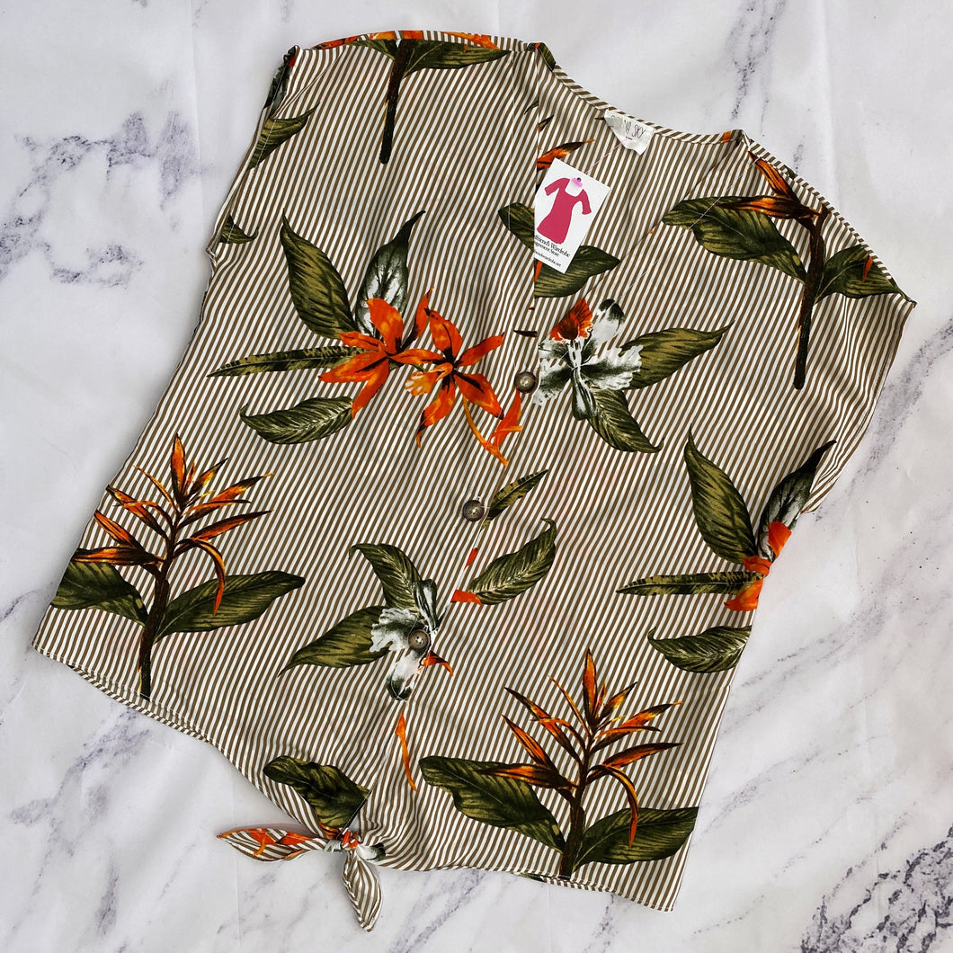 Sienna Sky brown and orange floral button up - My Girlfriend's Wardrobe York Pa
