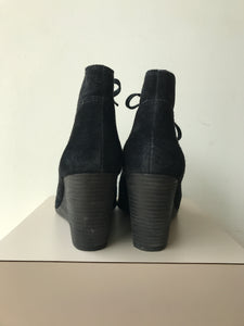 Lucky Brand black suede wedge booties size 8.5 - My Girlfriend's Wardrobe