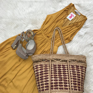 Loft mustard tank dress and wicker tote - My Girlfriend's Wardrobe York Pa