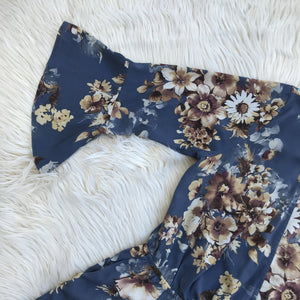 Veronica M blue and brown floral romper size L - My Girlfriend's Wardrobe York Pa