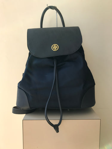 Tory Burch navy nylon leather Dena backpack