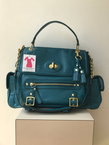 Coach teal leather Sydney satchel 14614 $798