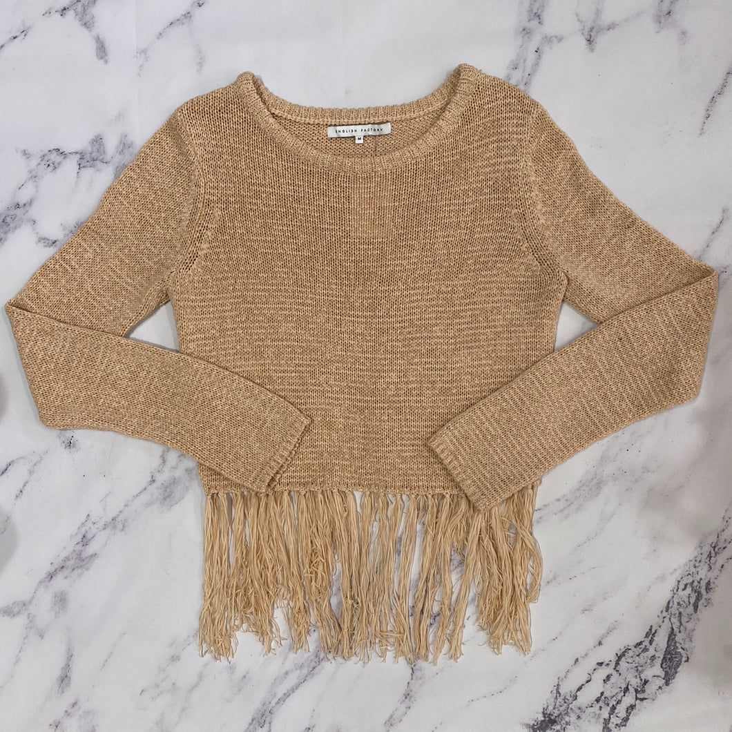 English Factory blush fringe sweater - My Girlfriend's Wardrobe York Pa