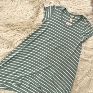 Matlida Jane green white striped SS dress - My Girlfriend's Wardrobe York Pa