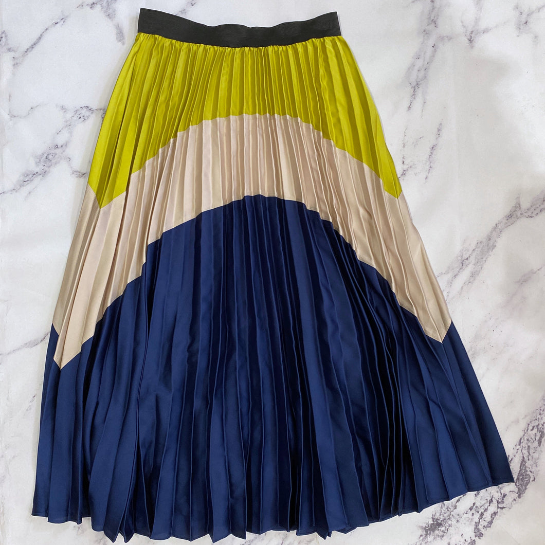INA blue, green, and tan pleated midi skirt - My Girlfriend's Wardrobe York Pa