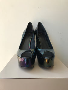 Brian Atwood black oil slick bambola pumps size 8.5 - My Girlfriend's Wardrobe