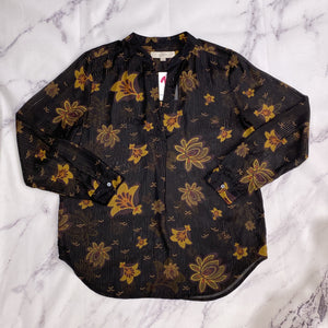 Loft black and mustard floral sheer top size S - My Girlfriend's Wardrobe LLC