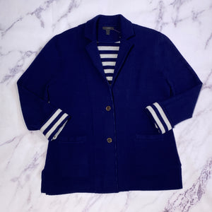 J.Crew navy and white cardigan size L