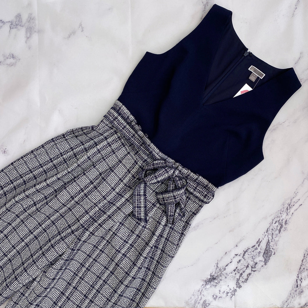 Chelsea 28 navy and white plaid romper