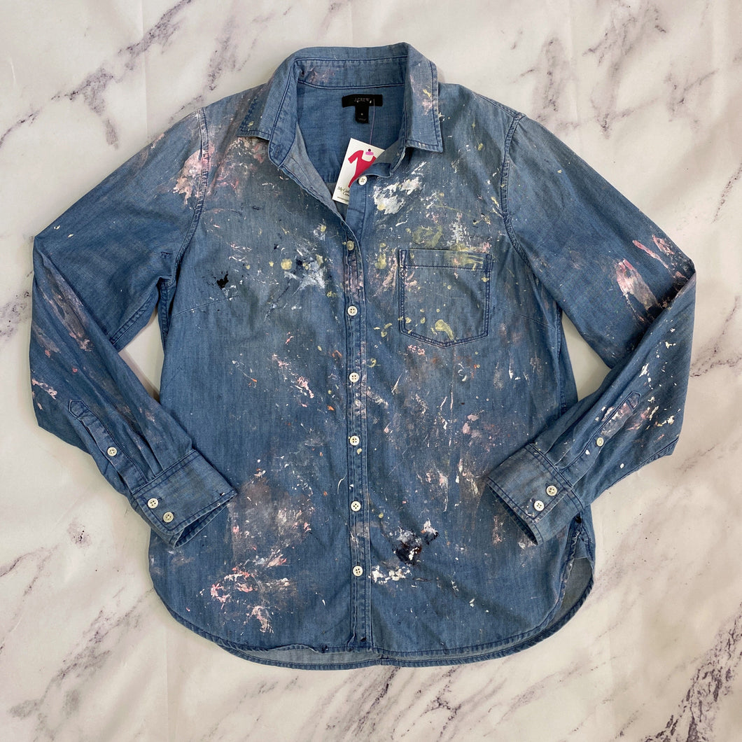 J.Crew paint splatter chambray button up - My Girlfriend's Wardrobe York Pa