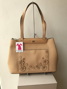 Michael Kors meredith tan leather floral bag NWT - My Girlfriend's Wardrobe