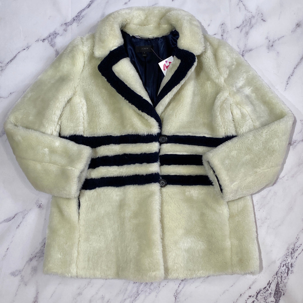 J.Crew cream and navy faux fur jacket size M