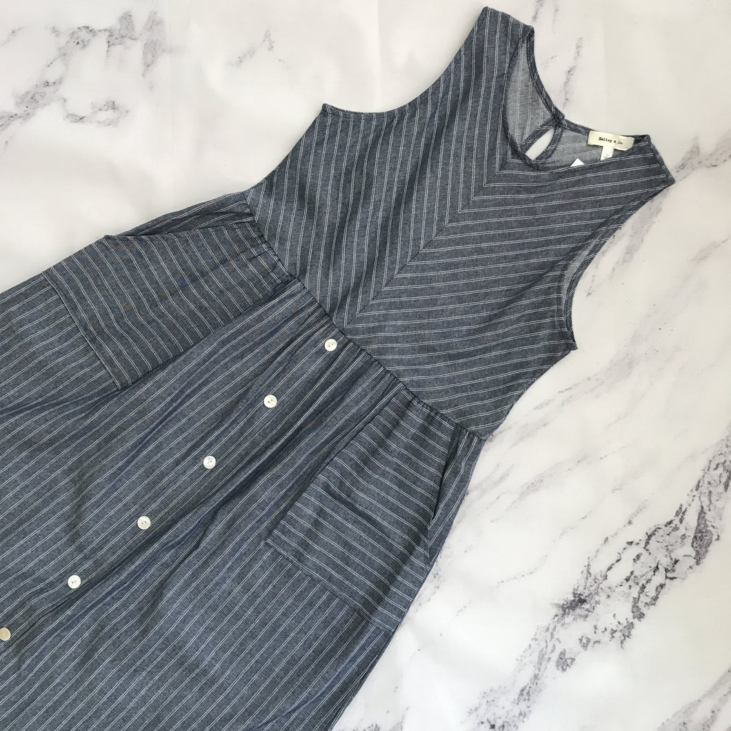 Hailey & Co blue and white striped dress - My Girlfriend's Wardrobe York Pa