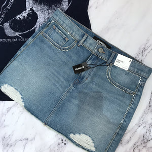 Express distressed denim skirt NWT - My Girlfriend's Wardrobe York Pa
