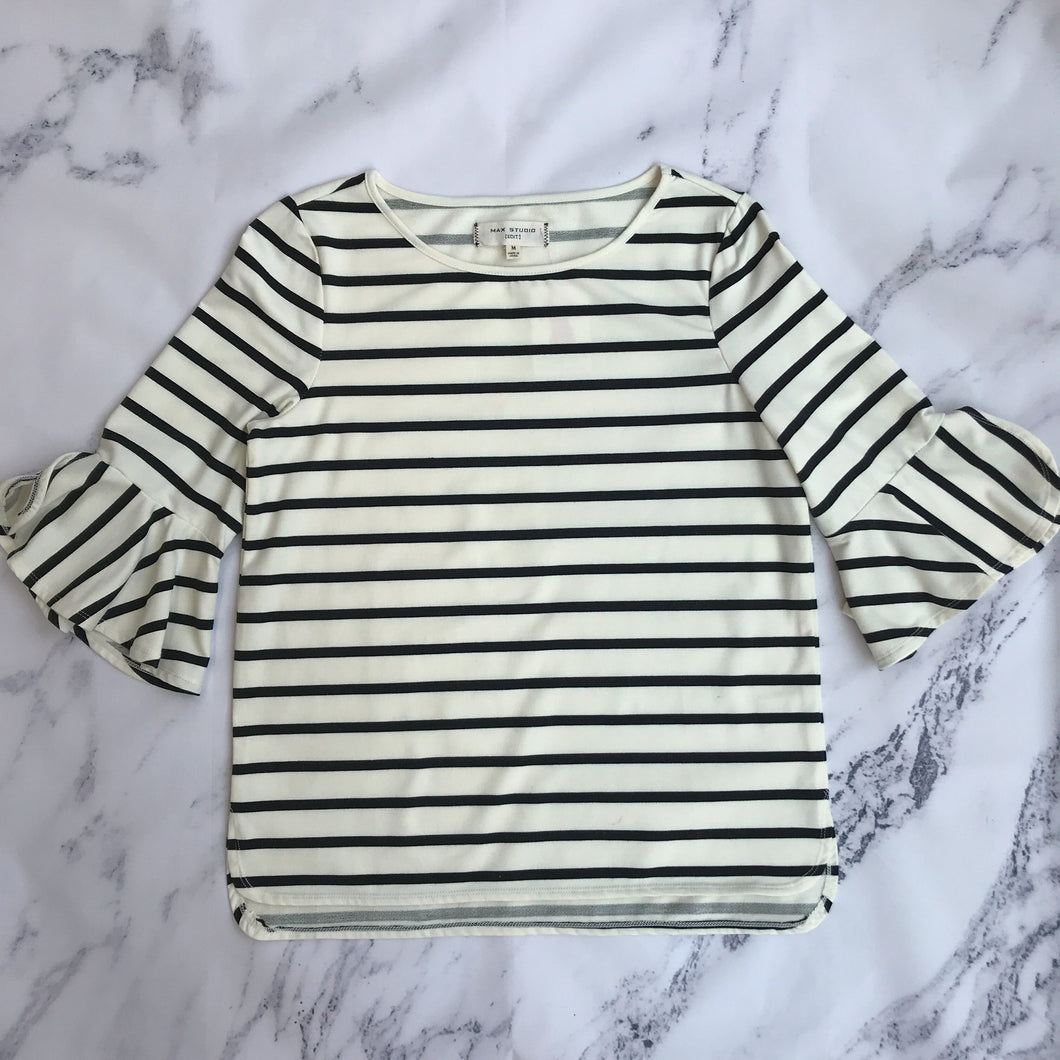 Max Studio Edit black and white striped top - My Girlfriend's Wardrobe York Pa