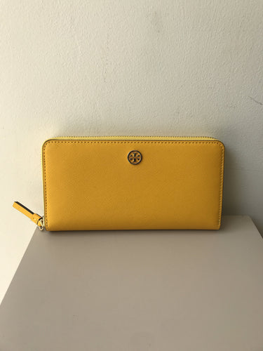 Tory Burch robinson zip continental yellow leather wallet - My Girlfriend's Wardrobe