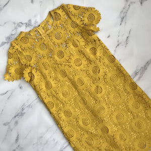 Loft mustard yellow floral lace dress - My Girlfriend's Wardrobe York Pa