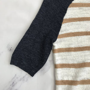 J.Crew brown, cream, and navy sweater - My Girlfriend's Wardrobe York Pa