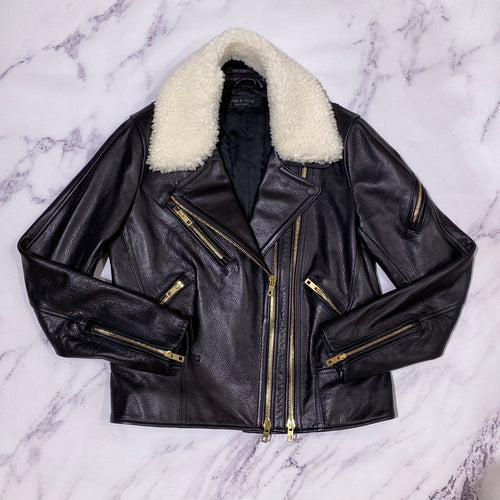 Rag & Bone black leather Minerva jacket size 10