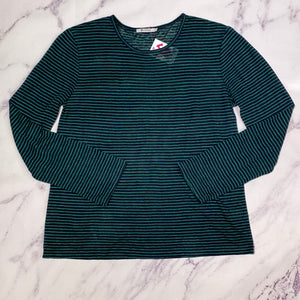 T Alexander Wang navy and green striped top size L