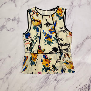 Tibi multi color bird and floral print silk tank top size 10