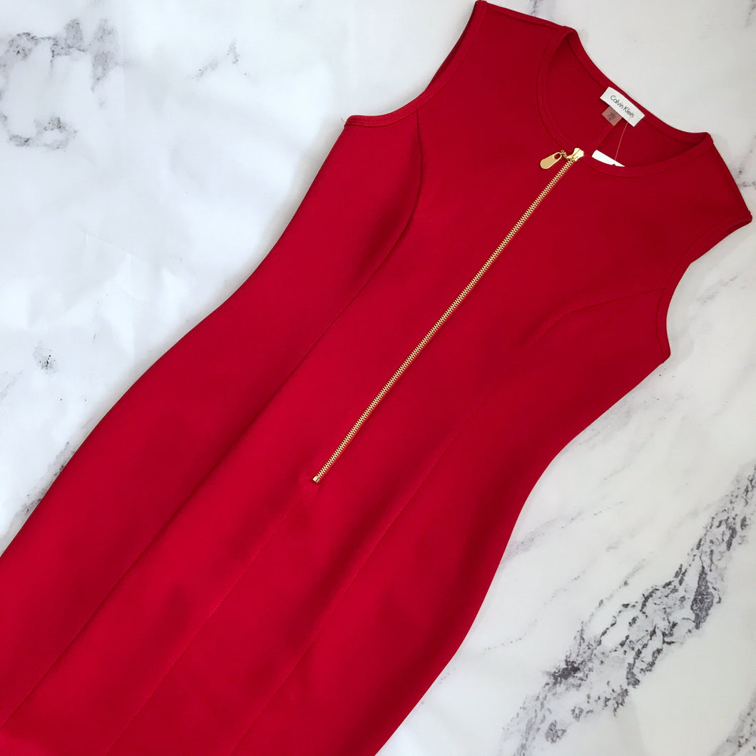 Calvin Klein red neoprene dress - My Girlfriend's Wardrobe York Pa