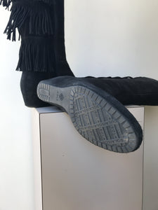 Isola black fringe suede boots size 9 - My Girlfriend's Wardrobe