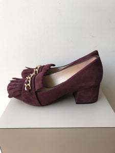 Karl Lagerfeld purple suede Audro fringe pumps size 7 - My Girlfriend's Wardrobe