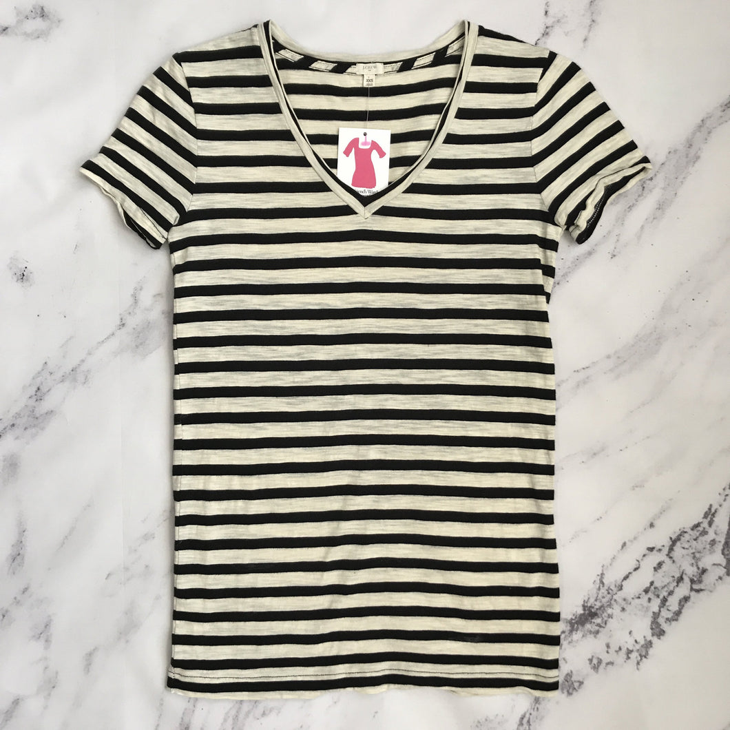 J.Crew cream and black striped v neck - My Girlfriend's Wardrobe York Pa