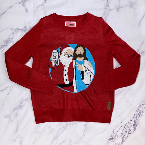 Tipsy Elves Jesus and Santa ugly Christmas sweater size L