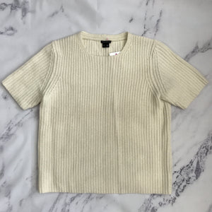 Theory cream short sleeve sweater - My Girlfriend's Wardrobe York Pa