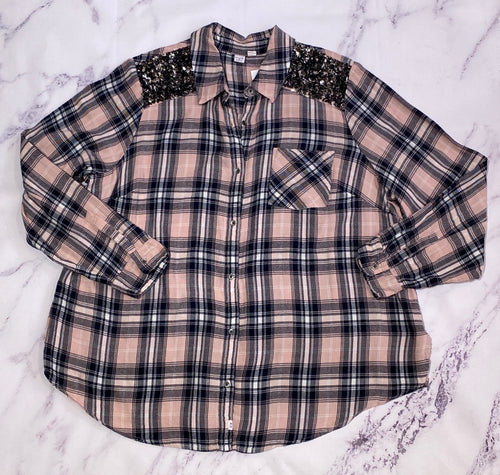 Melrose & Market pink, navy, and white plaid sequined button up size 2X