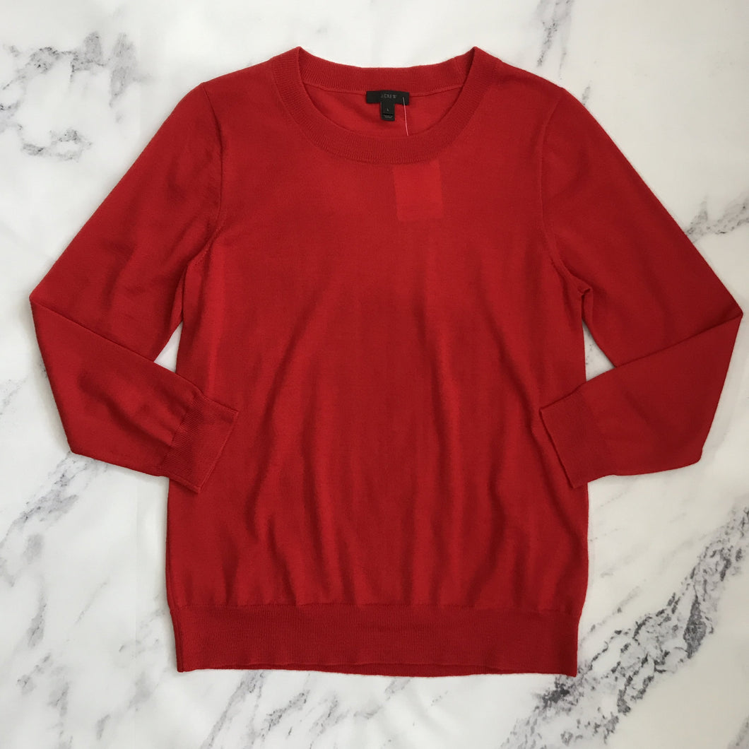 J.Crew bright red merino wool sweater - My Girlfriend's Wardrobe York Pa