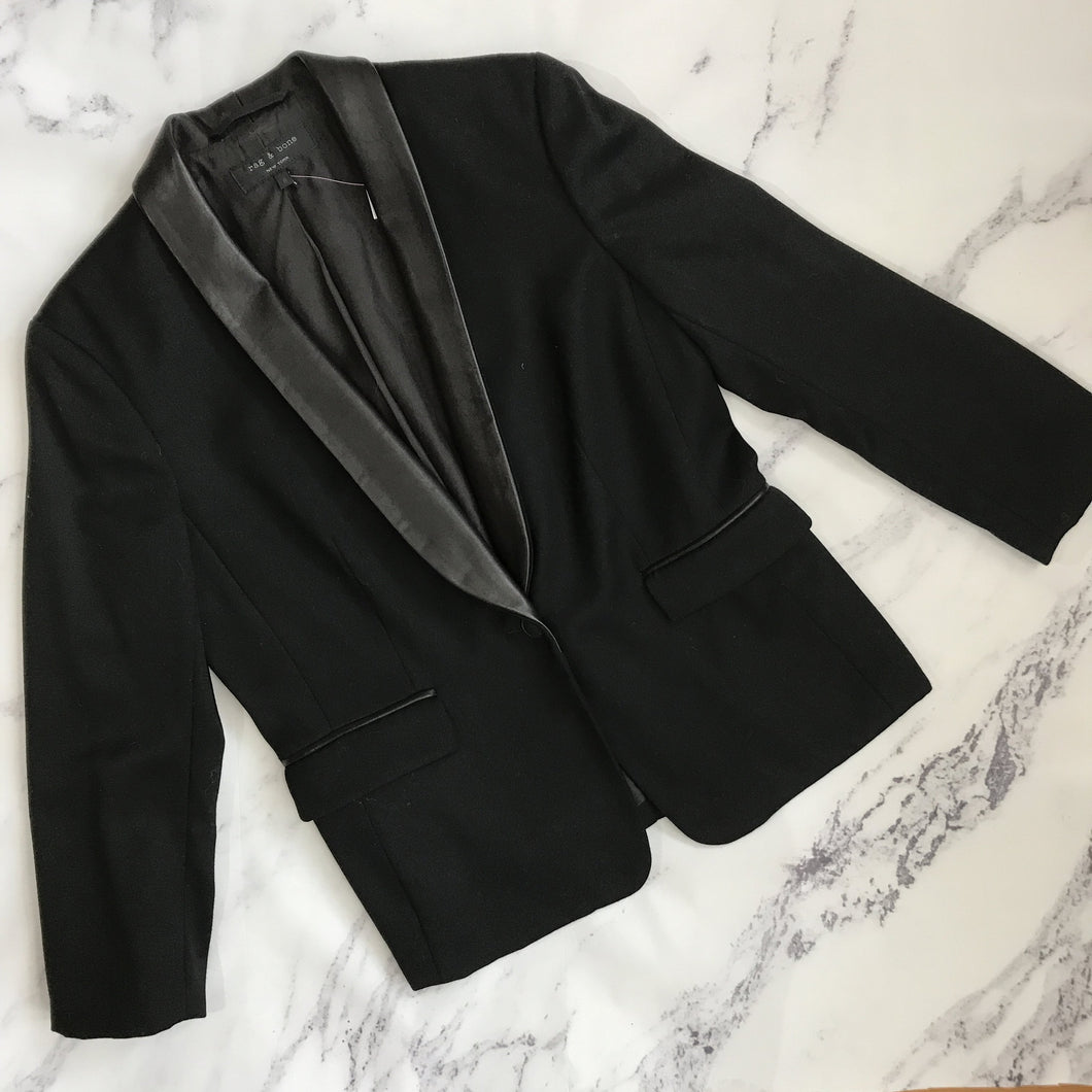 Rag & Bone black wool and leather blazer - My Girlfriend's Wardrobe York Pa