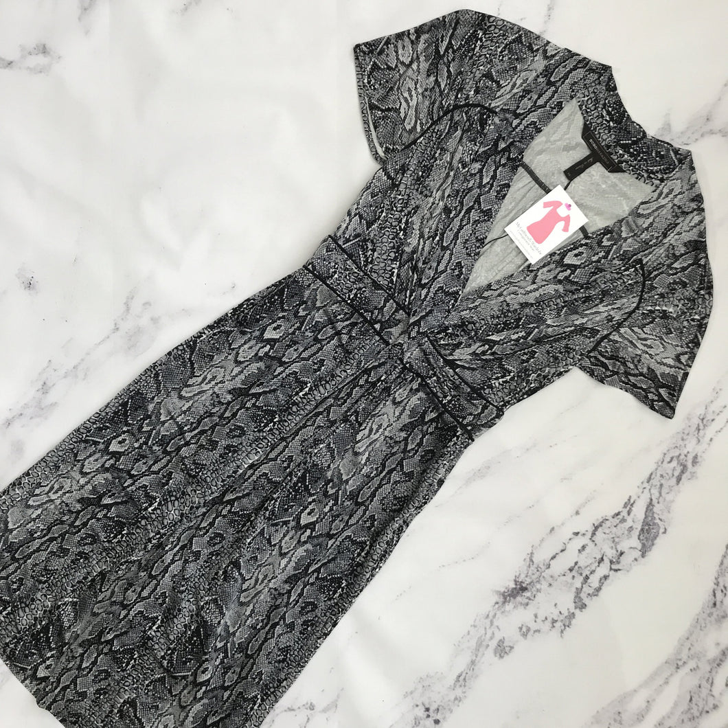 BCBGmaxazria gray and black snake print dress - My Girlfriend's Wardrobe York Pa