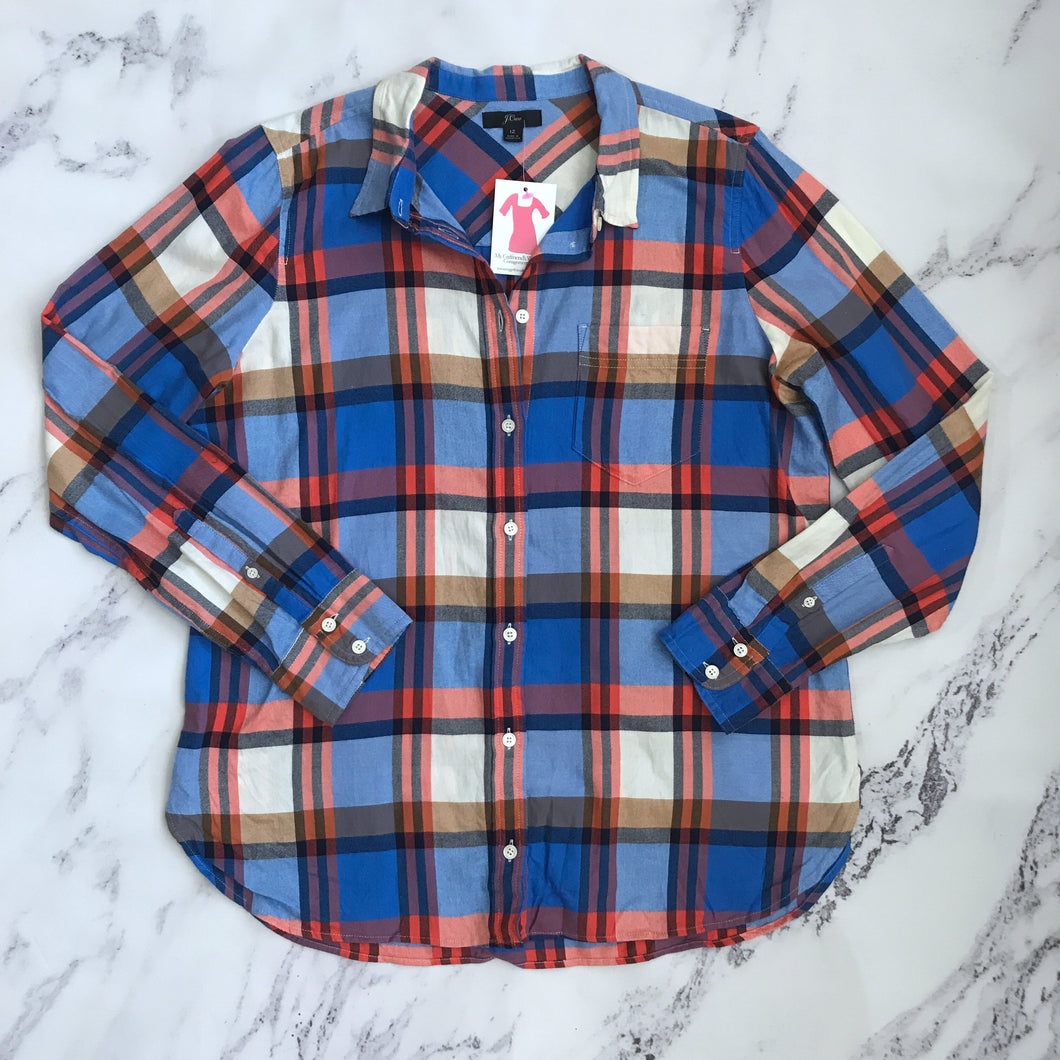 J.Crew orange and blue plaid button up - My Girlfriend's Wardrobe York Pa