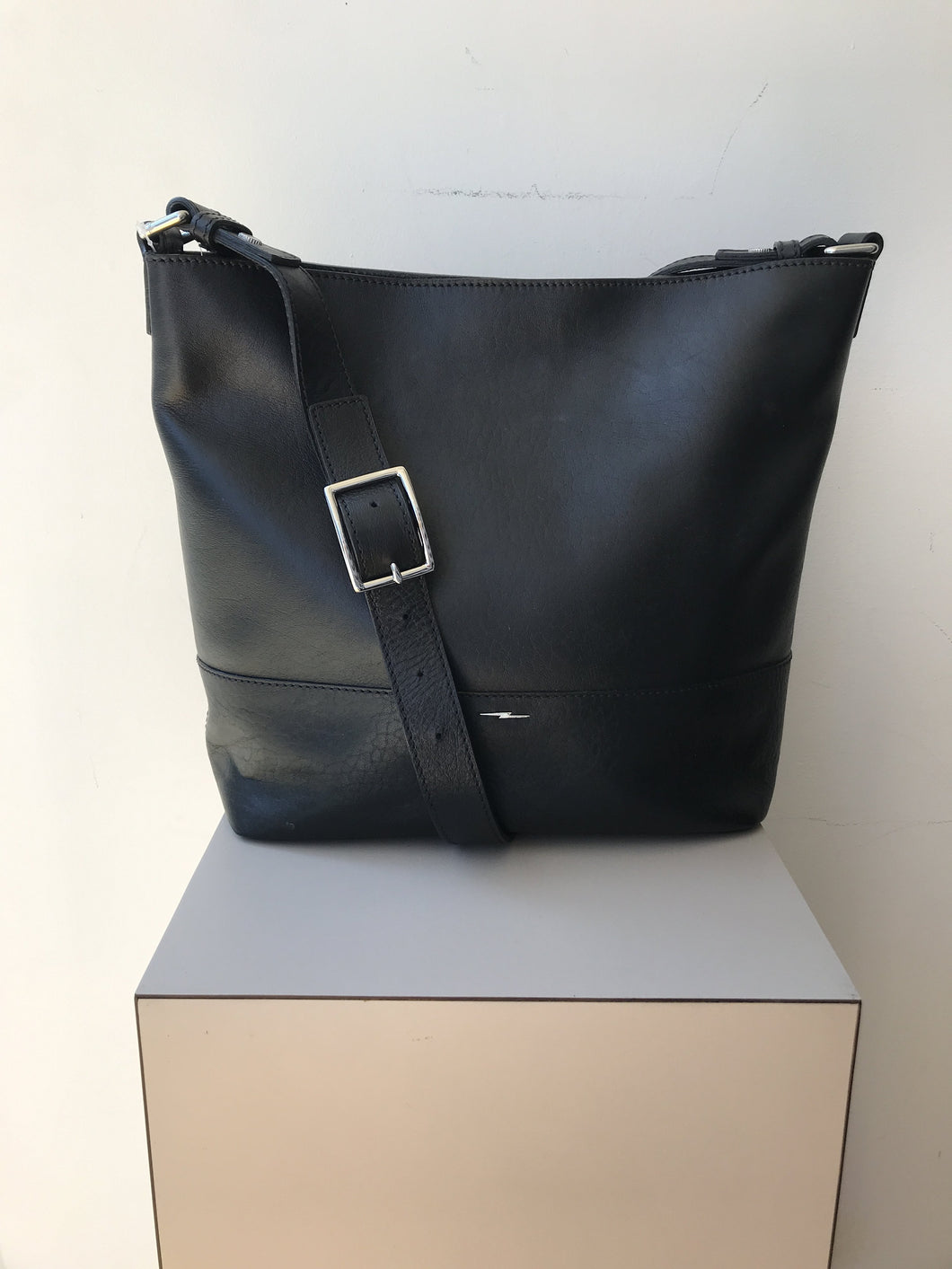 Shinola black leather shoulder/crossbody bag - My Girlfriend's Wardrobe York Pa