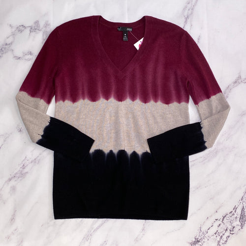 Aqua burgundy, beige, and black cashmere sweater size XS